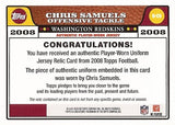 Rare Collectible Chris Samuels Game Worn Jersey Washington Redskins Card R-CS - TnTCollectibles - 2