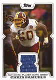 Rare Collectible Chris Samuels Game Worn Jersey Washington Redskins Card R-CS - TnTCollectibles - 1