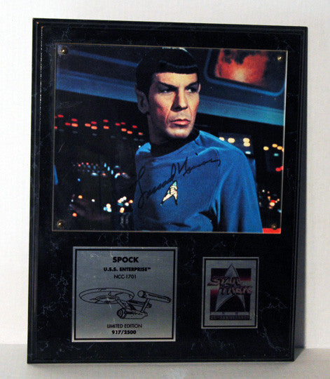 Limited Edition Star Trek Leonard Nimoy Autograph Spock Signed 25th Anniversary Photo Plaque - TnTCollectibles - 1