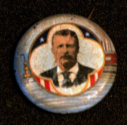 Antique Teddy Roosevelt Presidential Election Color Campaign Pin Button - TnTCollectibles