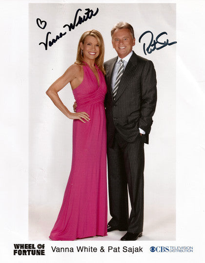 Collectible Pat Sajak Vanna White Dual Autograph Hand Signed Wheel Of Fortune Photo - TnTCollectibles