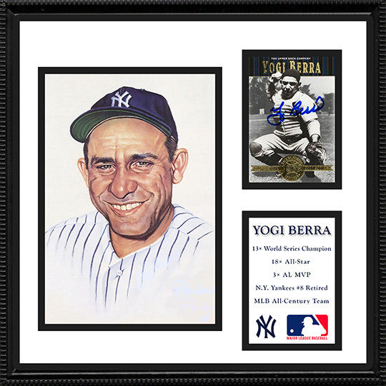 NY Yankees Legend Yogi Berra Autograph Hand Signed Framed Card with Photo - TnTCollectibles