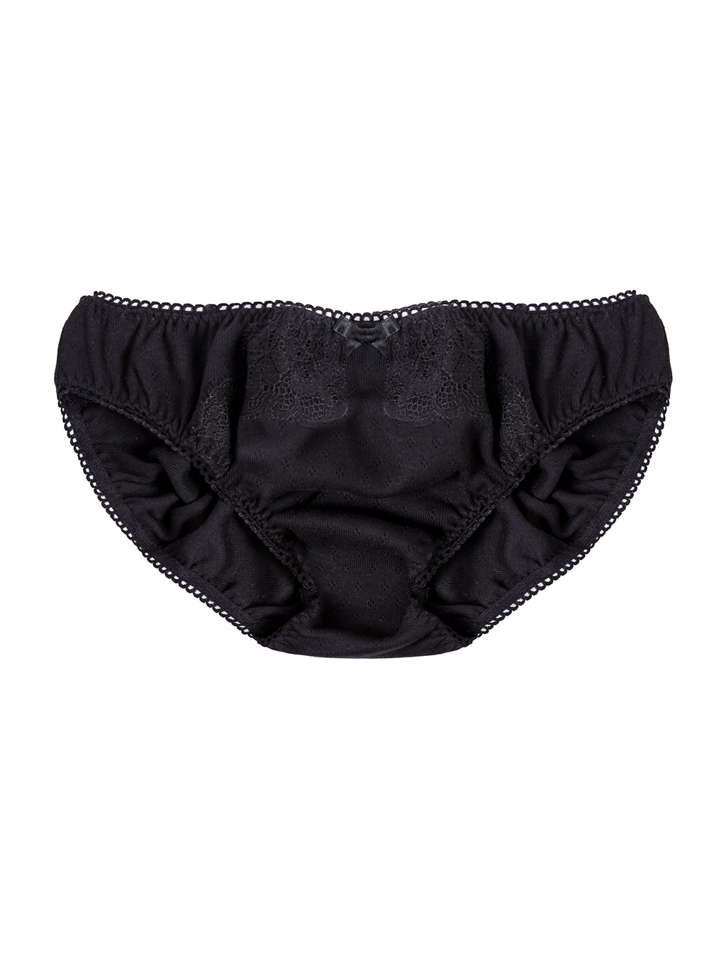 Eva Black Organic Cotton Pointelle Jersey Knicker by Ayten Gasson