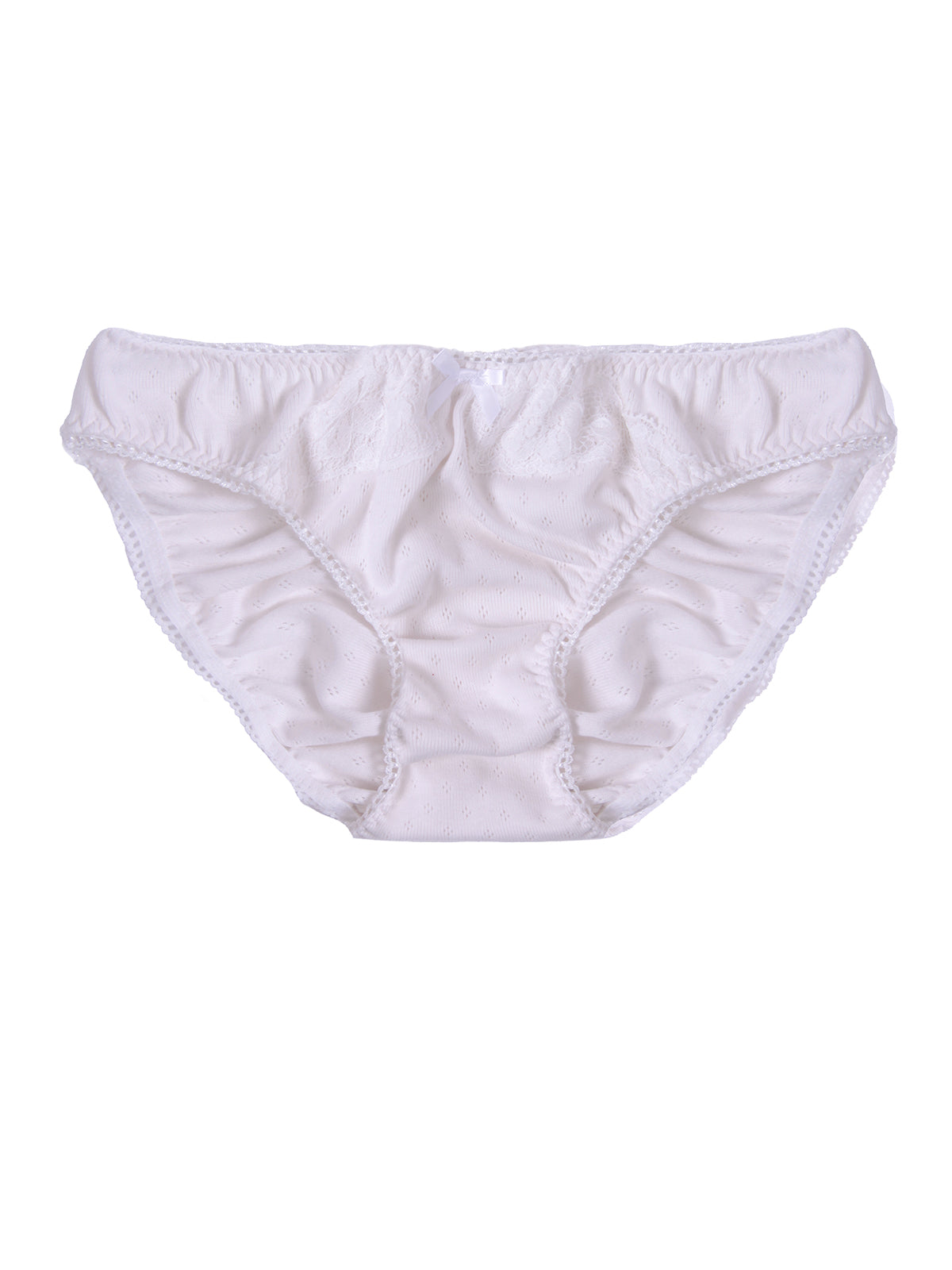 Eva Ivory Organic Cotton Pointelle Jersey Knicker by Ayten Gasson