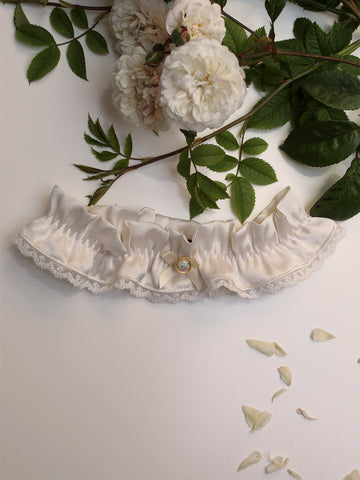 Lily Silk Bridal Garter With Vintage Button Charm