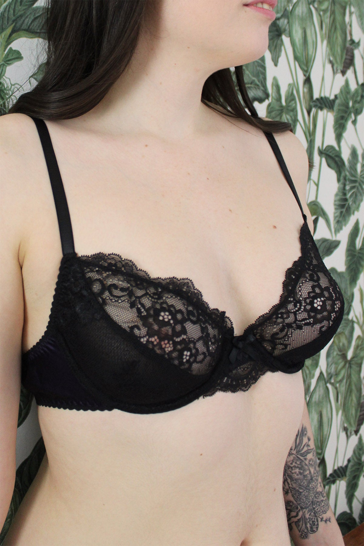 Lola Black Tulip Lace & Silk Underwire Bra by Ayten Gasson