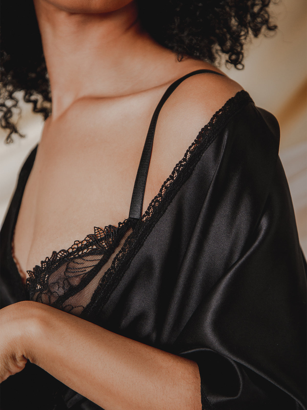 Nina Black French Lace & Silk Plunge Bra Close Up