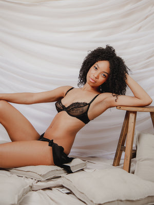 Nina Black French Lace & Silk Plunge Bra by Ayten Gasson