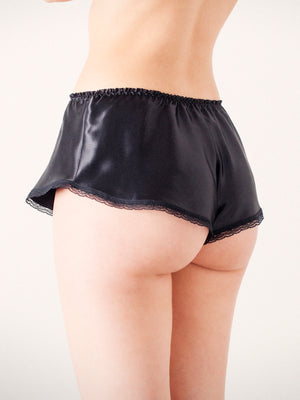 Nina Black Silk French Knicker By Ayten Gasson