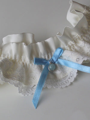 Sophie Luxury Ivory Silk & Lace Garter With Detachable Pendent