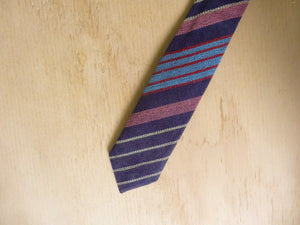 Navy Stripe Slim Necktie