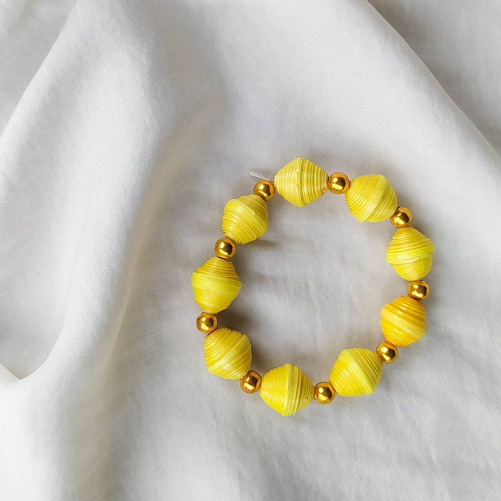 Upcycled Bead Bracelet - Yellow