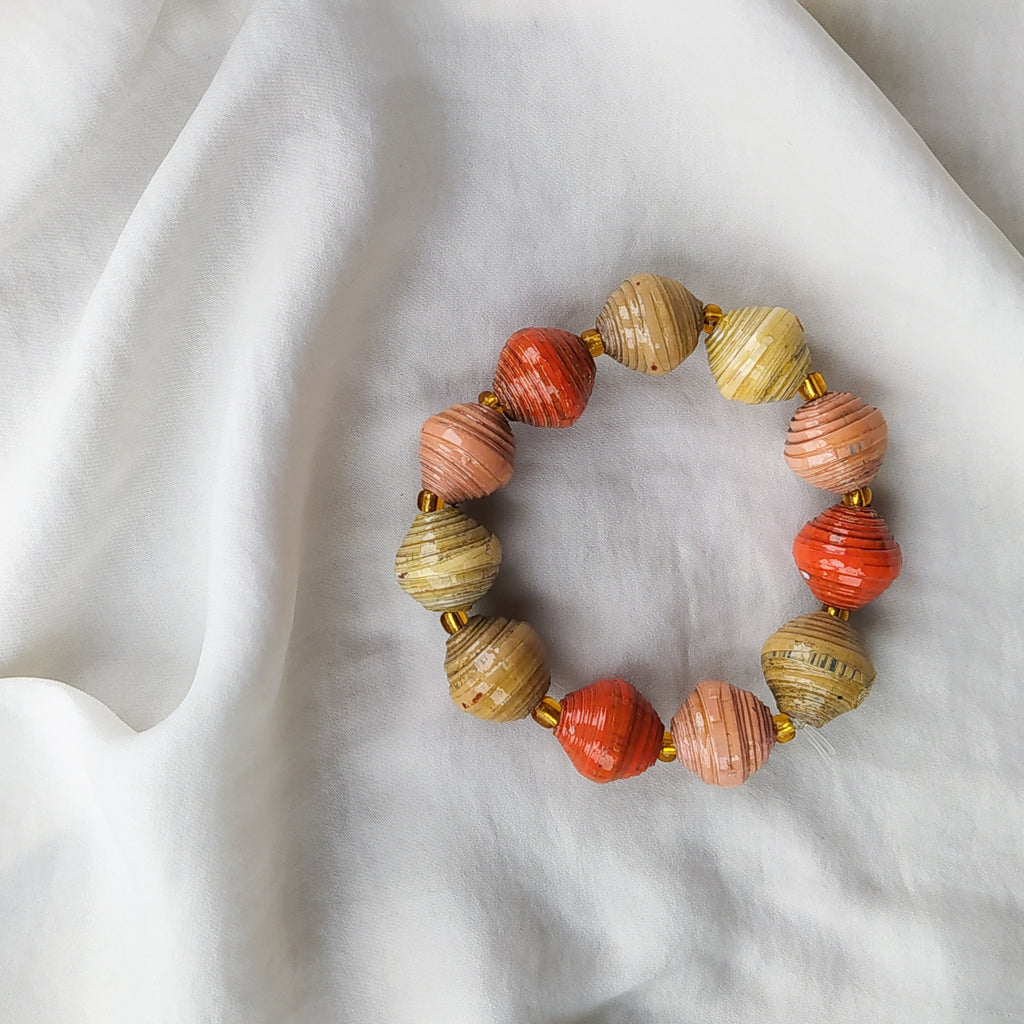 Upcycled Bead Bracelet - Terracotta