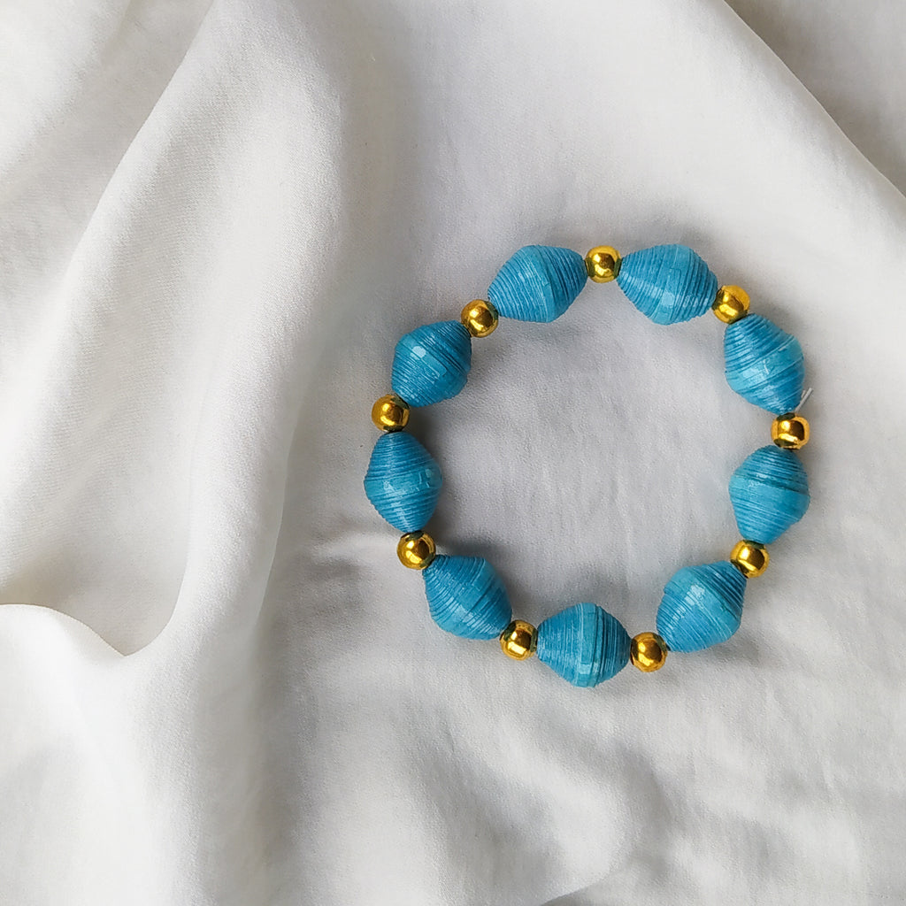 Upcycled Bead Bracelet - Blue