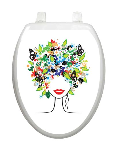 Spring Lady Skull Tt-1021-O Elongated Colorful Theme Cover Bathroom