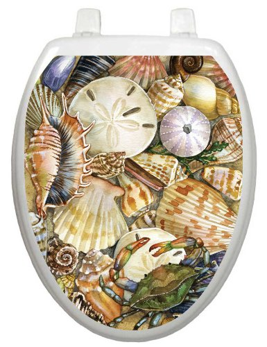 Toilet Tattoos, Toilet Seat  Cover Decal, Tidal Treasures Seashells, Size Elongated