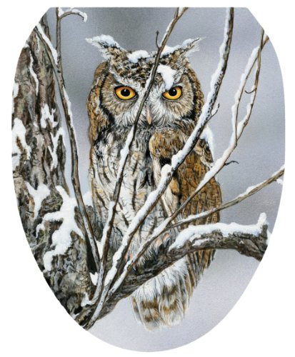 Toilet Tattoos, Toilet Seat  Cover Decal, Sheltered Owl, Size Elongated
