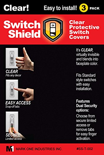 Light Switch Guard - 9 Toggle Style Shields - Clear! Dual Security Options  In One Product  Choose From Secure Limited Access, Or Snap Off Tabs For