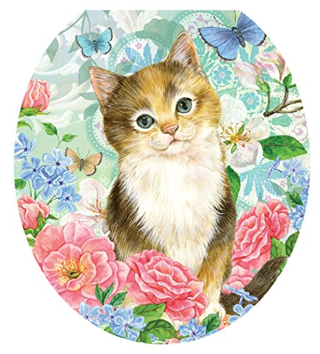 Toilet Tattoos, Toilet Seat  Cover Decal,Soft Kitten, Size Round/Standard