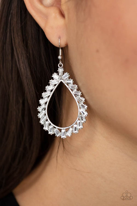 Paparazzi Accessories: Stay Sharp - White Gem Earrings