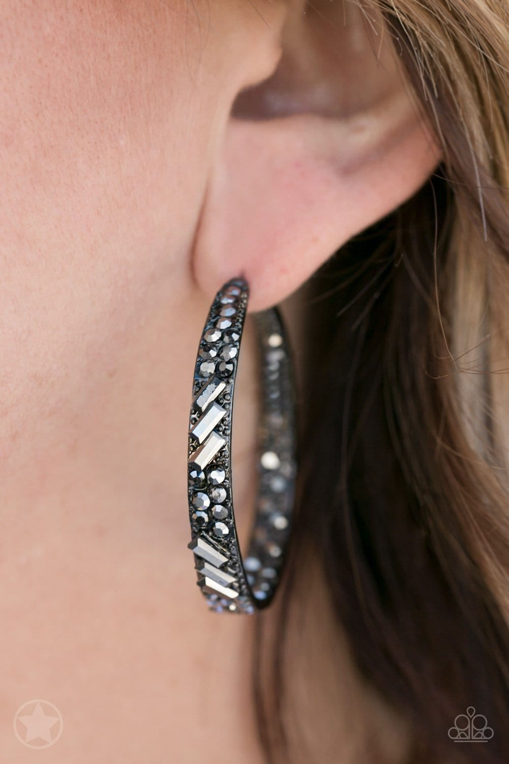 Paparazzi: BLOCKBUSTER GLITZY By Association - Black Earrings - Jewels N' Thingz Boutique