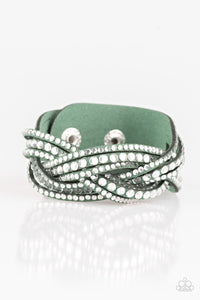 Paparazzi: Bring On The Bling - Green Rhinestone Bracelet
