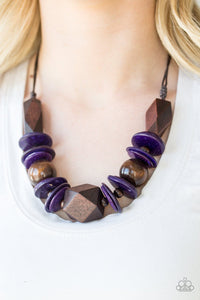 Paparazzi: Pacific Paradise - Purple Wooden Necklace