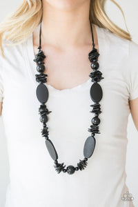Paparazzi: Carefree Cococay - Black Wooden Necklace - Jewels N' Thingz Boutique