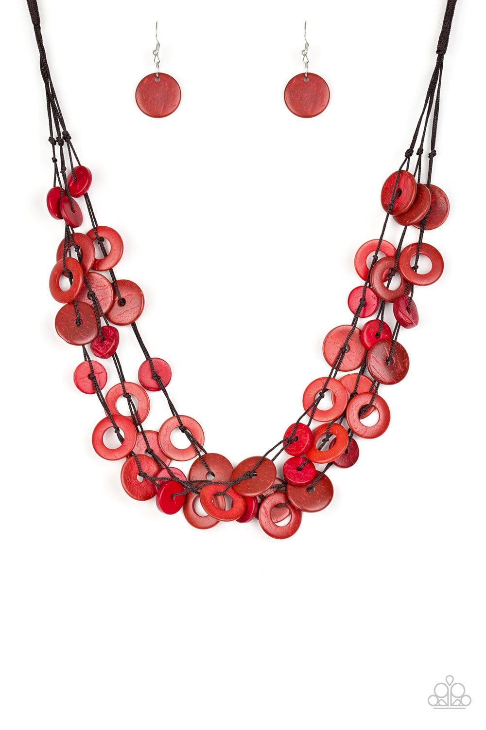 Paparazzi: Wonderfully Walla Walla - Red Wooden Necklace