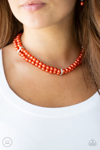 Paparazzi: Put On Your Party Dress - Orange/Pearls/Choker Necklace