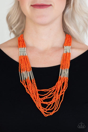 Let It BEAD - Orange Seed Beads Necklace: Paparazzi