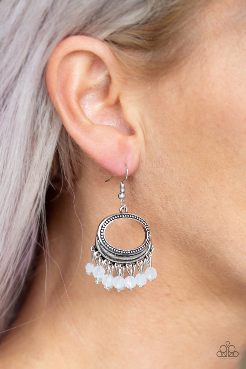 Paparazzi: Happy Days - White Bead Earrings