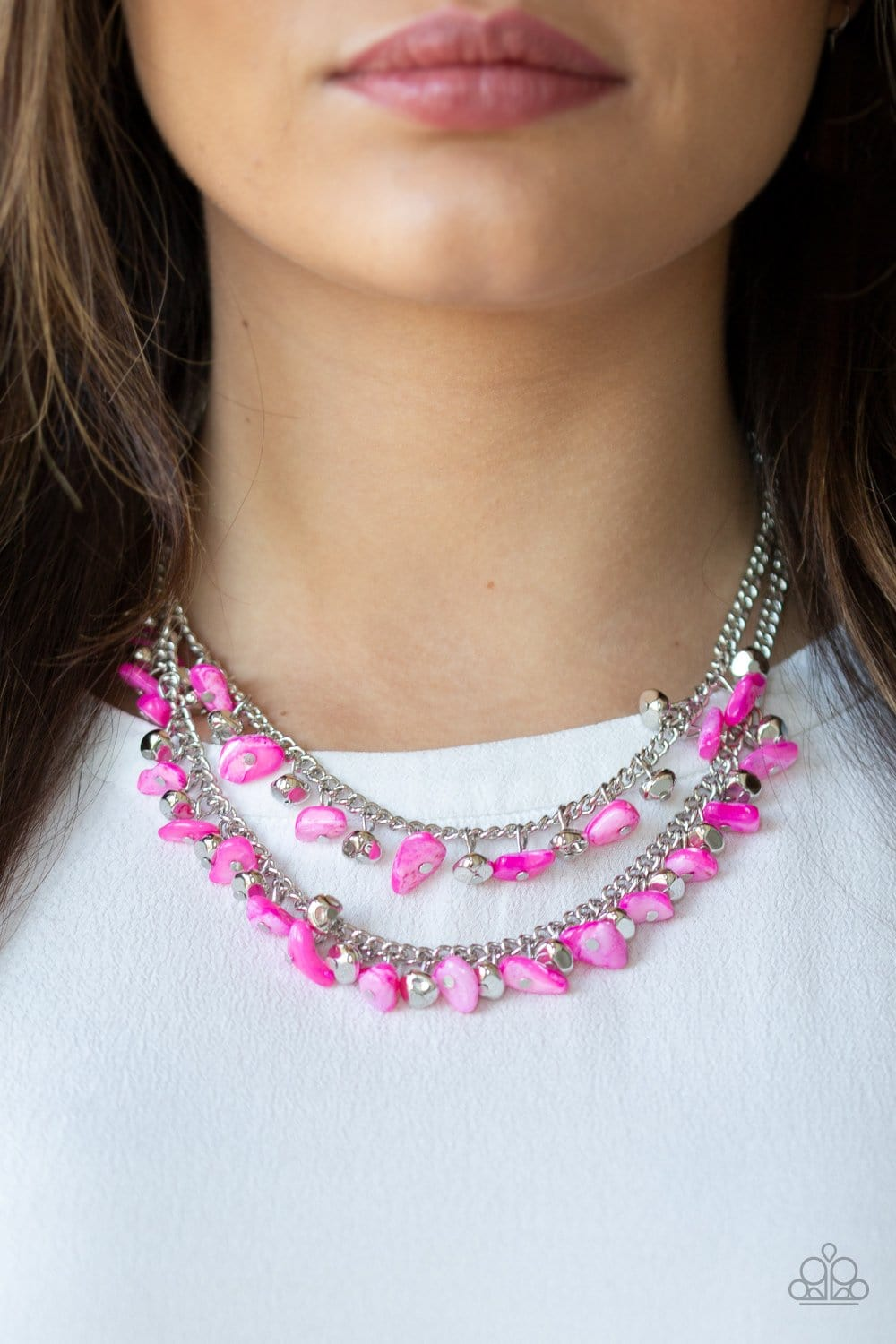 Paparazzi: Pebble Pioneer - Pink Necklace - Jewels N' Thingz Boutique
