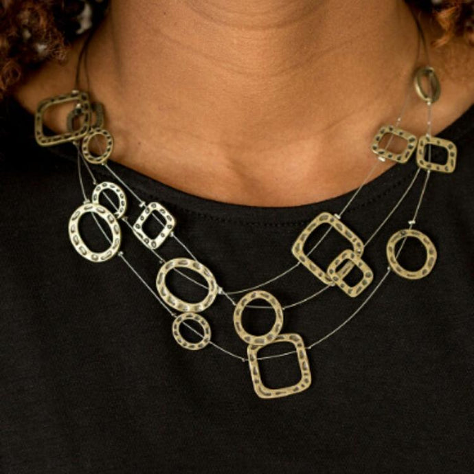 Paparazzi Accessories: GEO-ing Strong - Brass Antiqued Necklace