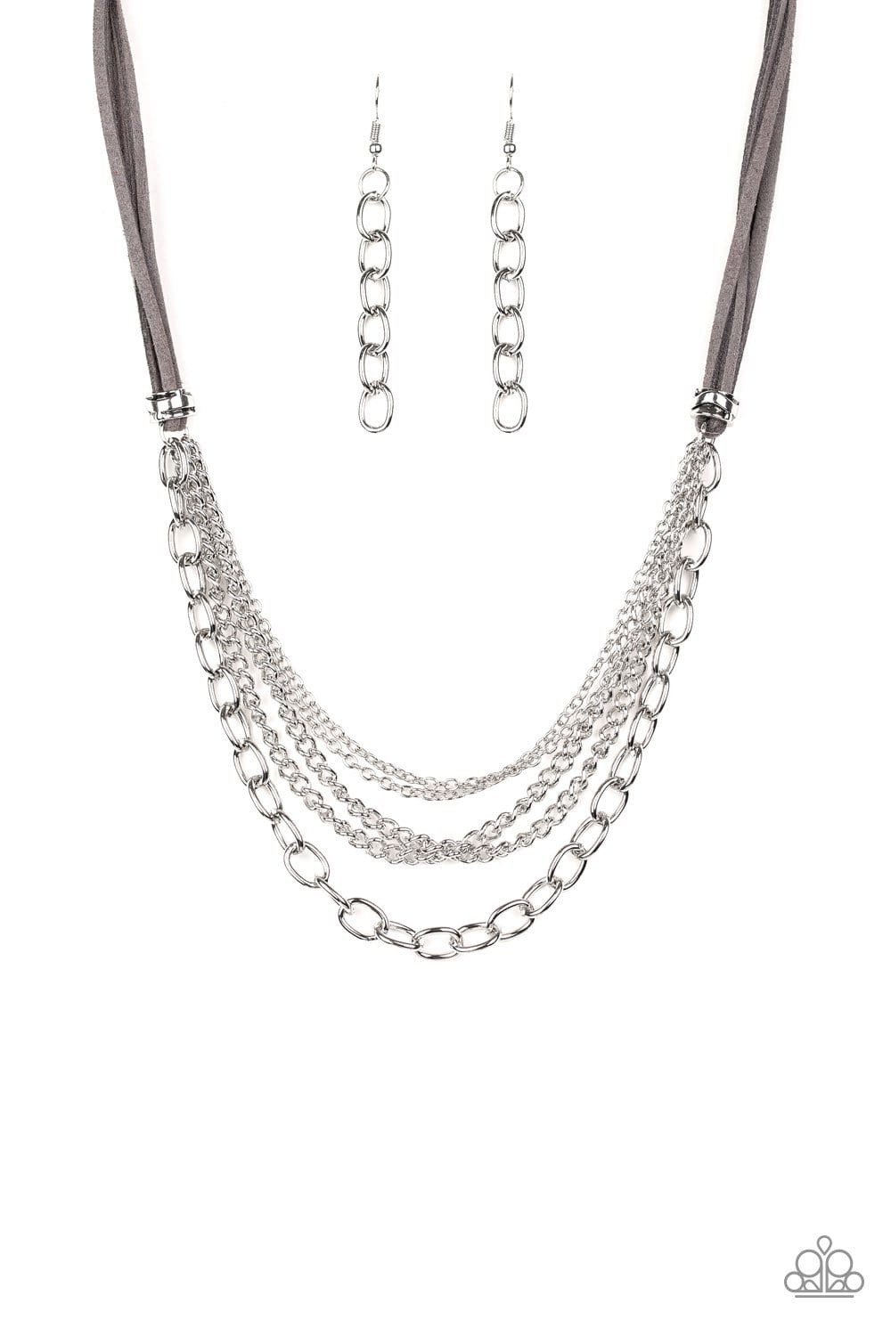 Paparazzi: Free Roamer - Silver Suede Necklace
