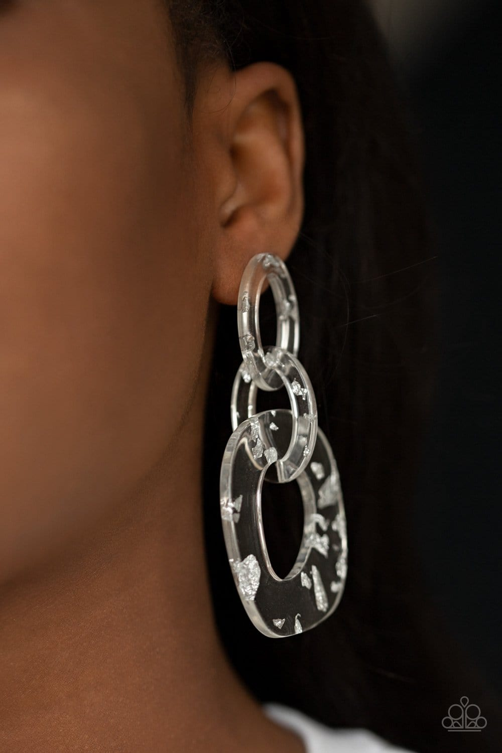 Paparazzi: Confetti Congo - White: Acrylic Earrings - Jewels N' Thingz Boutique