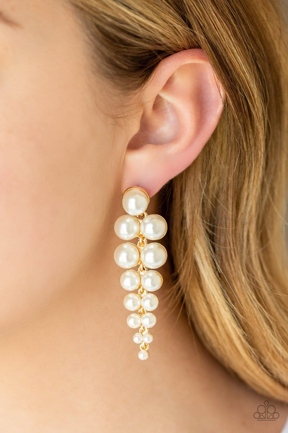 Totally Tribeca - Gold Pearl Earrings: Paparazzi - Jewels N' Thingz Boutique