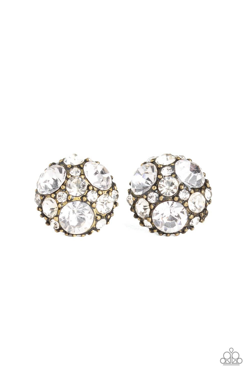 Paparazzi: Diamond Daze - Brass Rhinestone Earrings