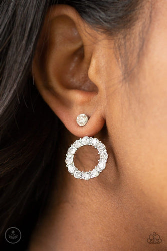Paparazzi Accessories: Diamond Halo - White Rhinestone Earrings