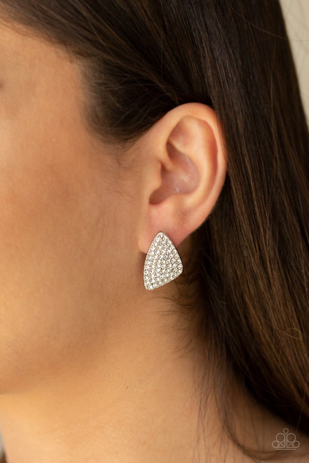 Paparazzi: Supreme Sheen - White Rhinestone Post Earrings - Jewels N' Thingz Boutique