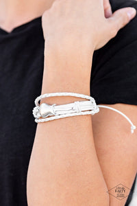 Paparazzi: Lead Guitar - White Braided Leather Bracelet - Jewels N' Thingz Boutique