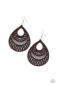 Shoulda Coulda WOODa - Brown Wooden Earrings: Paparazzi - Jewels N' Thingz Boutique