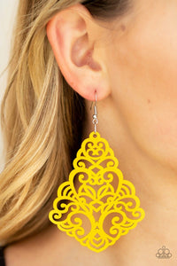 Paparazzi: Powers of ZEN - Yellow Wooden Earrings - Jewels N' Thingz Boutique