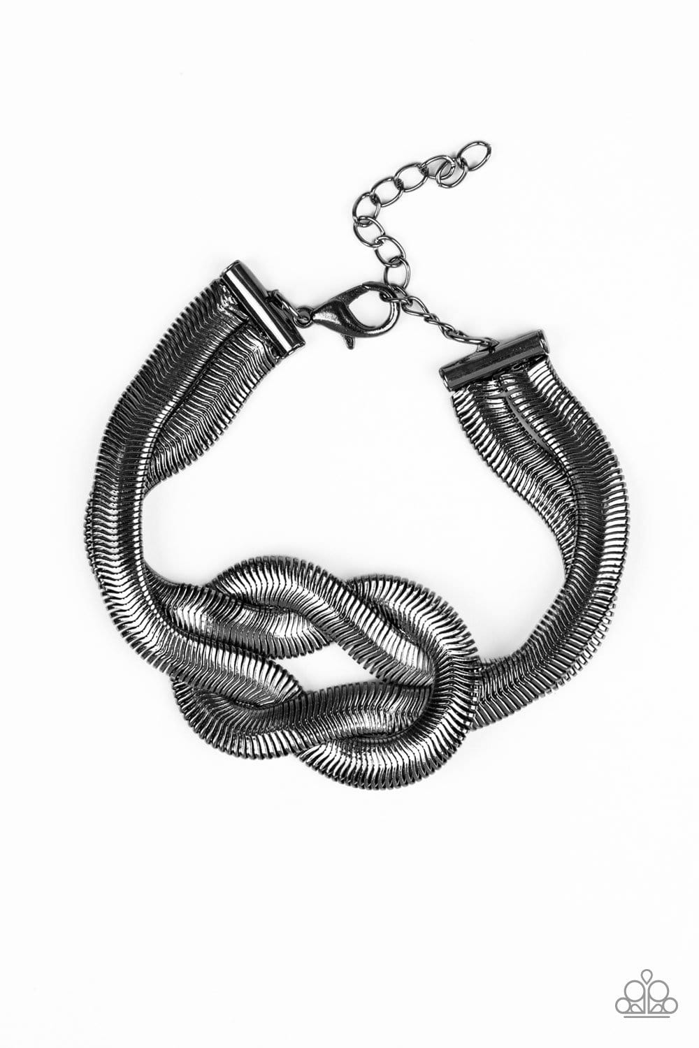 Paparazzi: To The Max - Black Herringbone Chain Knot Bracelet - Jewels N' Thingz Boutique