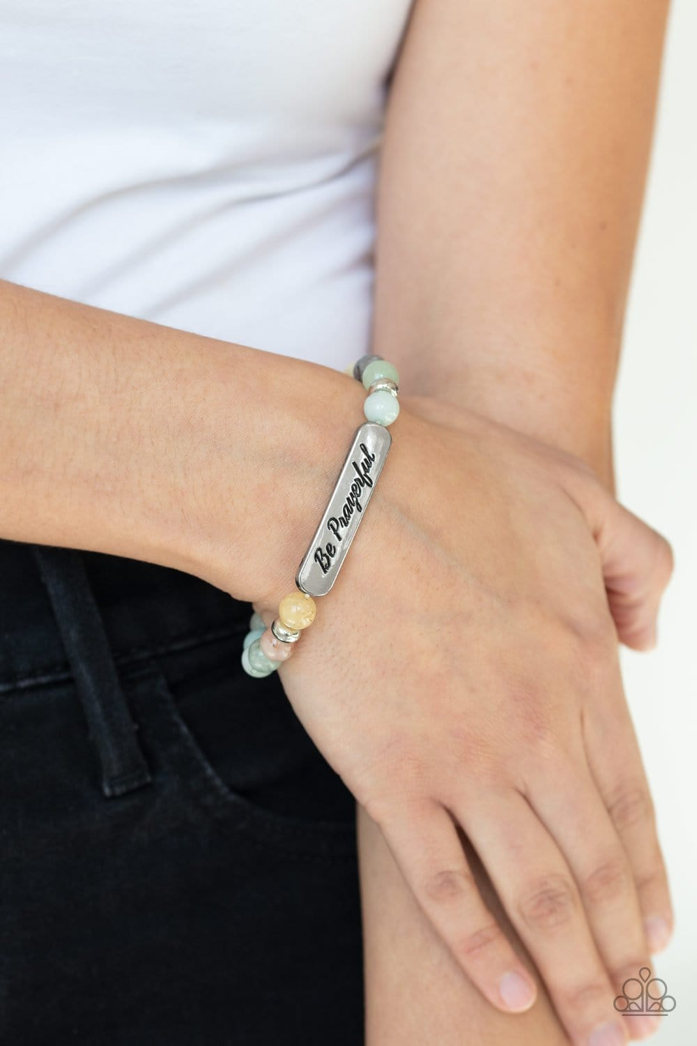 Paparazzi: Be Prayerful - Green Inspirational Bracelet