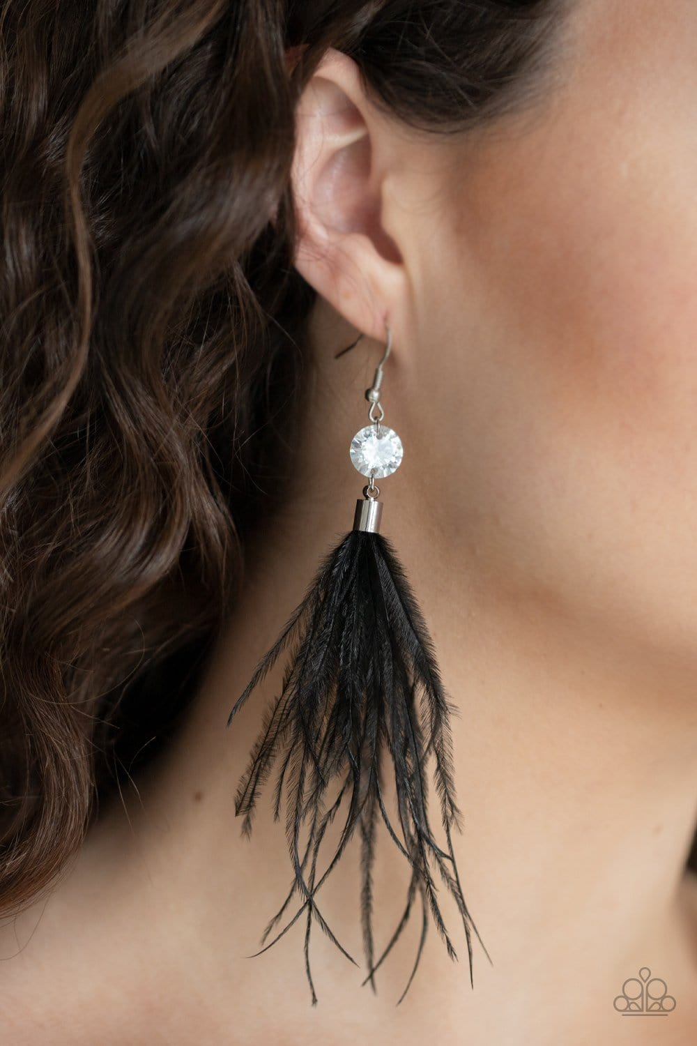 Paparazzi: Feathered Flamboyance - Black Earrings