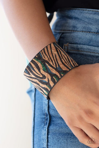 Paparazzi: Show Your True Stripes - Blue Cork-Like Bracelet