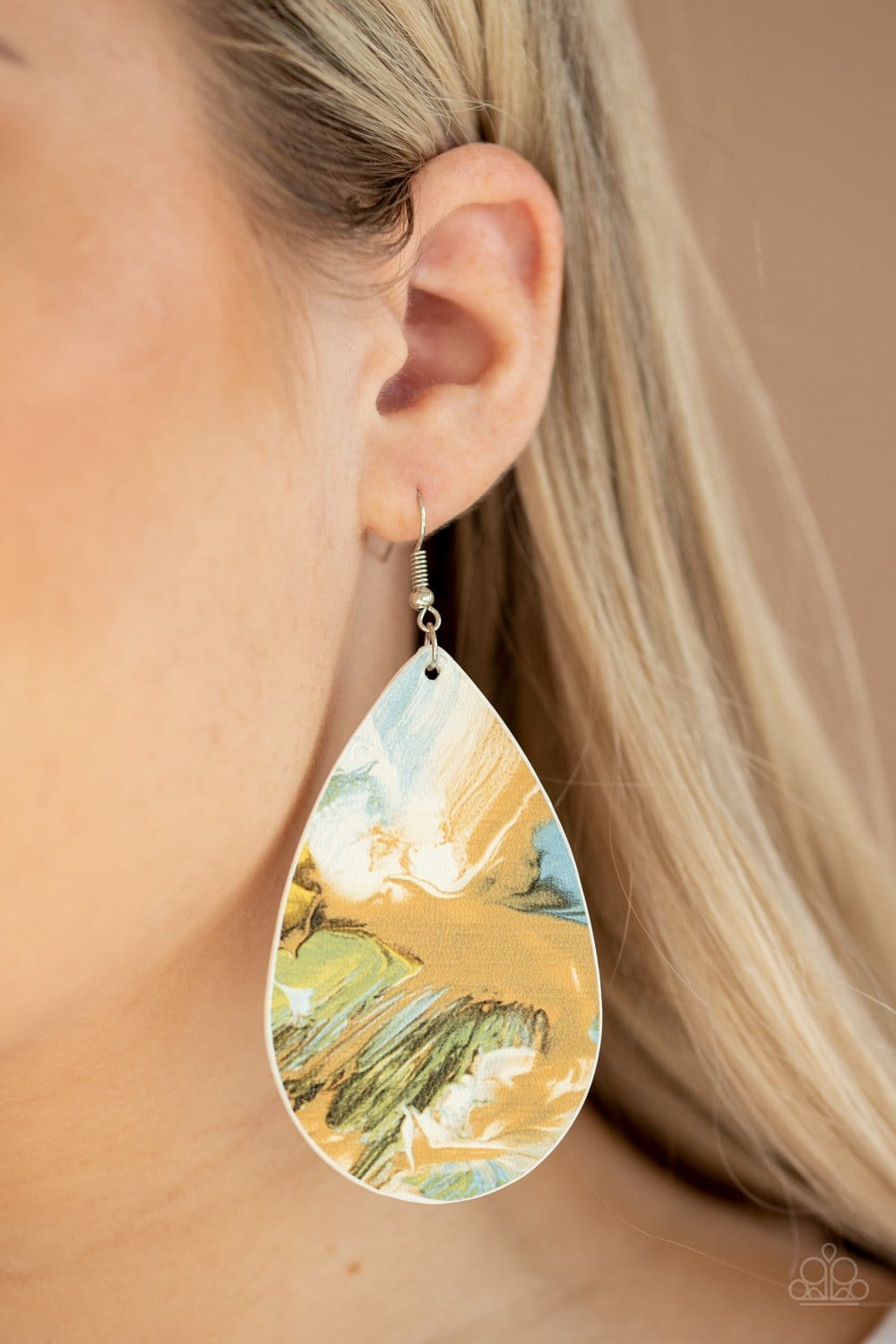Mesmerizing Mosaic - Multi Leathery Earrings: Paparazzi