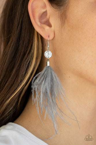 Paparazzi: Feathered Flamboyance - Silver Earrings