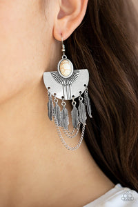 Paparazzi: Sure Thing, Chief! - White Antiqued Earrings